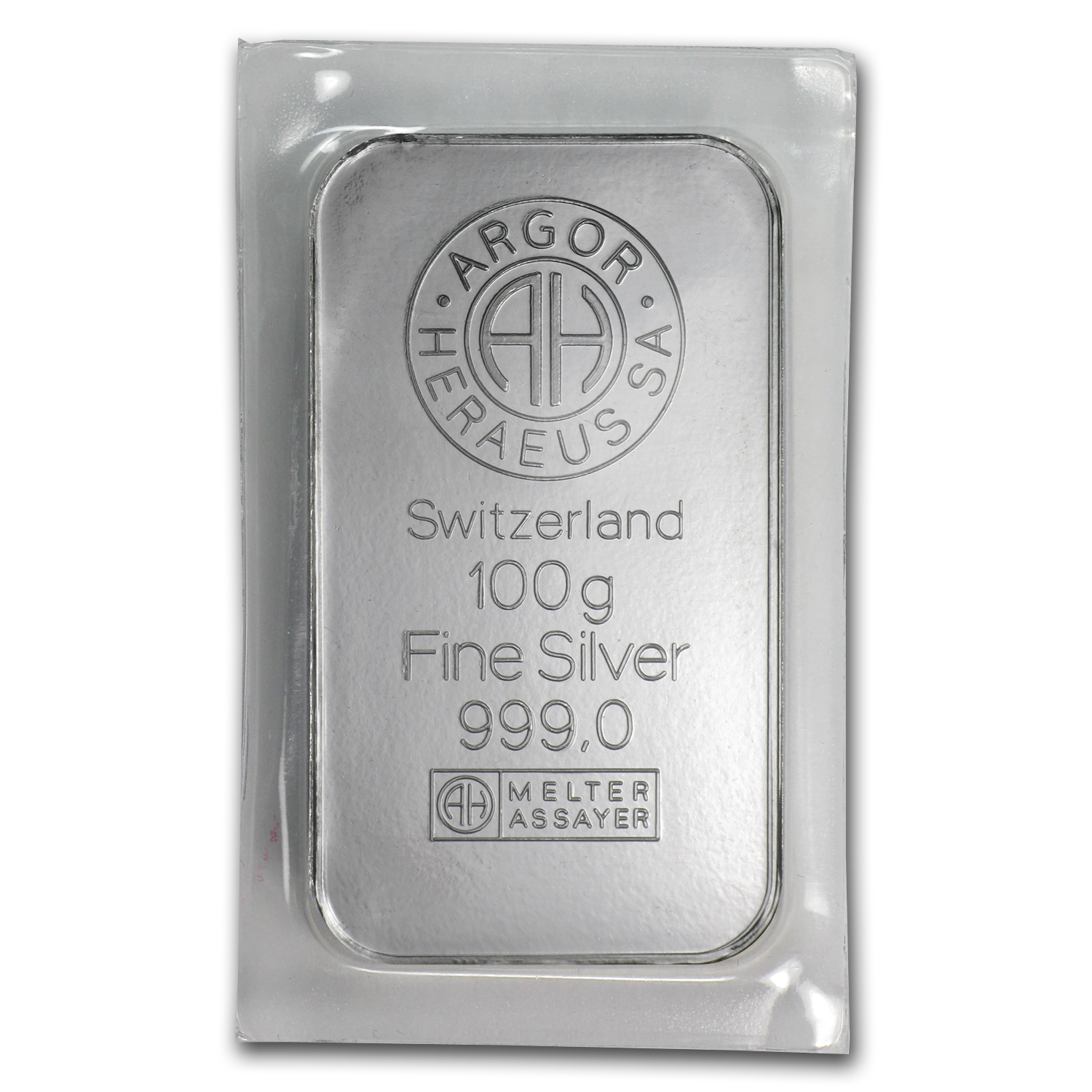 100 gram Silver Bars - Argor/Heraeus (Pressed/Switzerland)