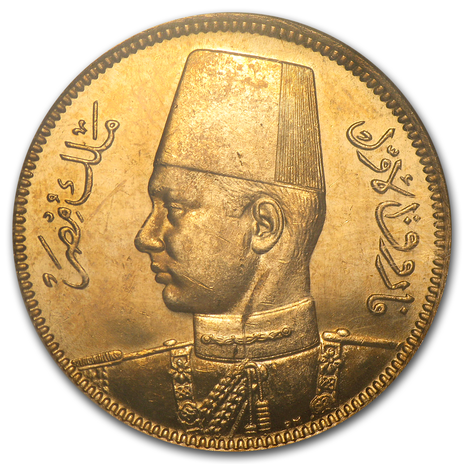 AH1357/1938 Egypt Gold 100 Piastres MS-63 NGC