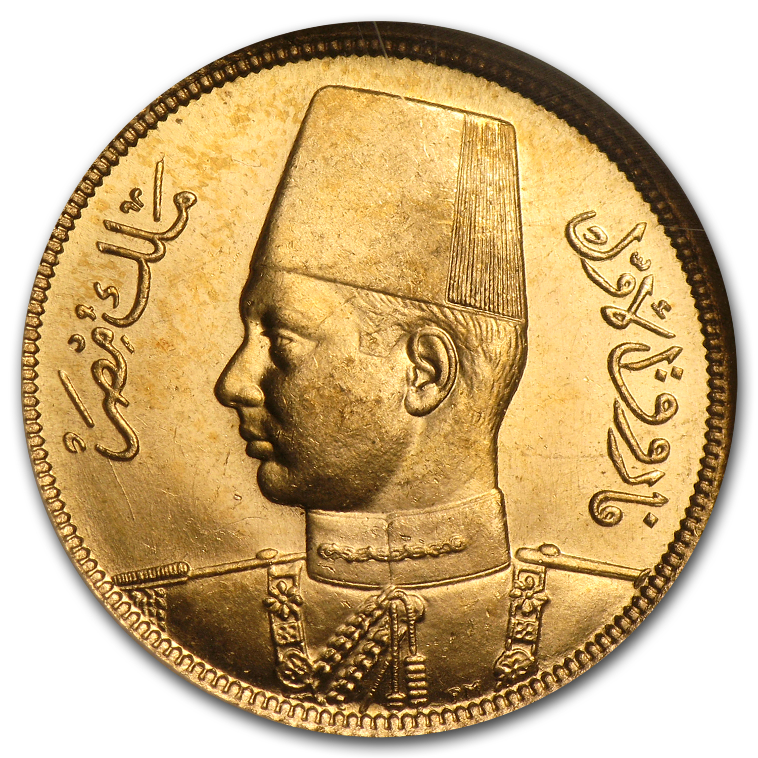 AH1357/1938 Egypt Gold 50 Piastres MS-65 NGC
