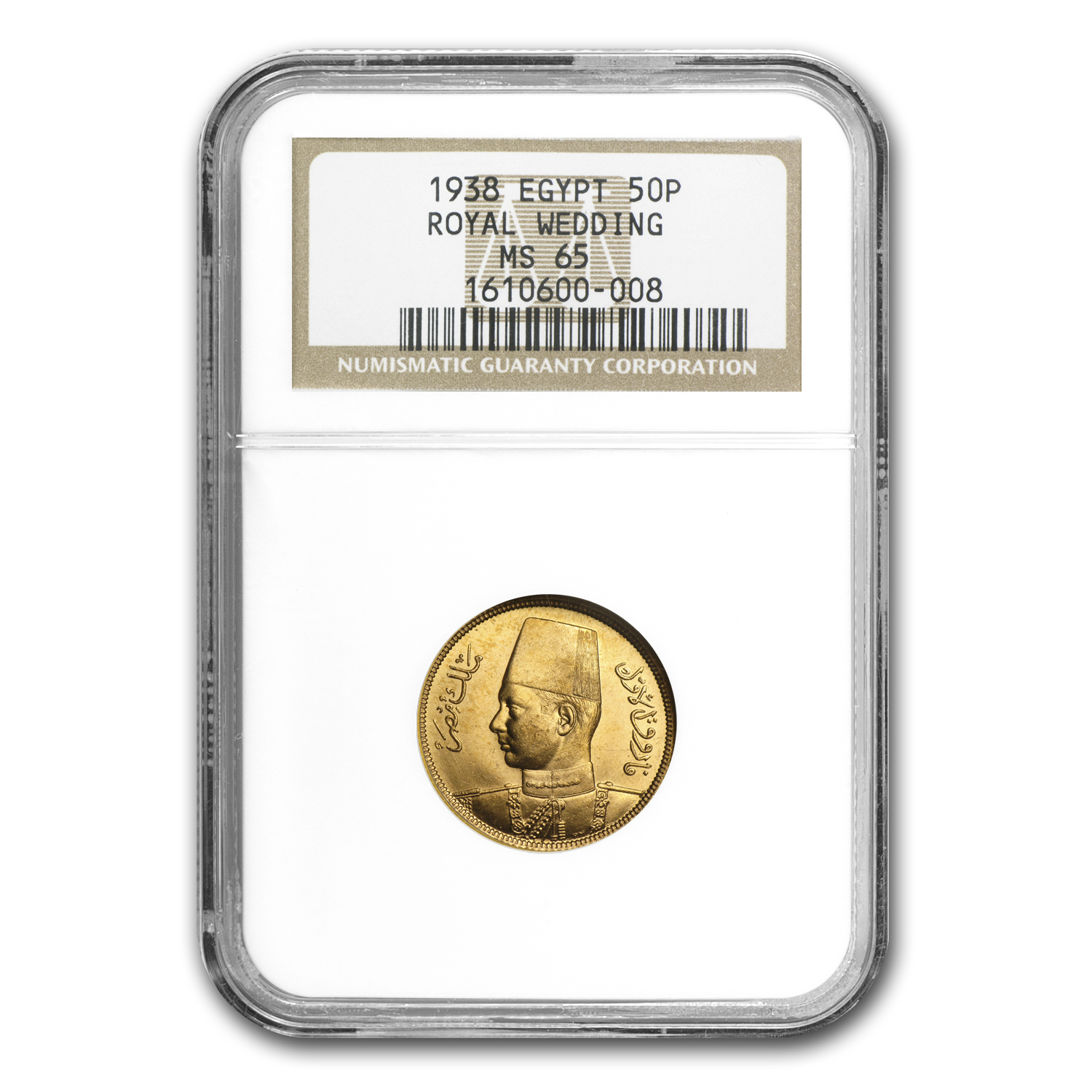 Egypt AH1357/1938 50 Piastres Gold NGC MS-65