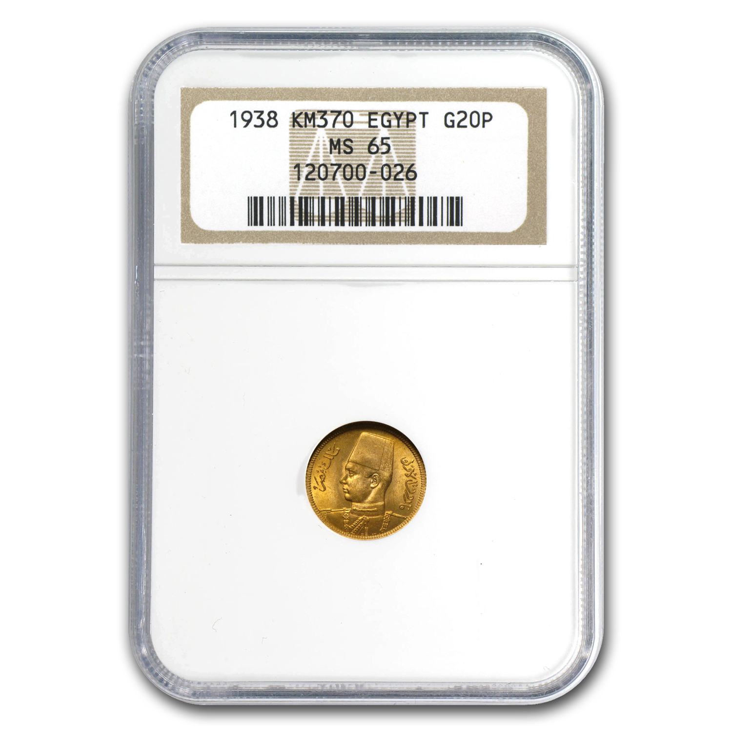 AH1357/1938 Egypt Gold 20 Piastres MS-65 NGC