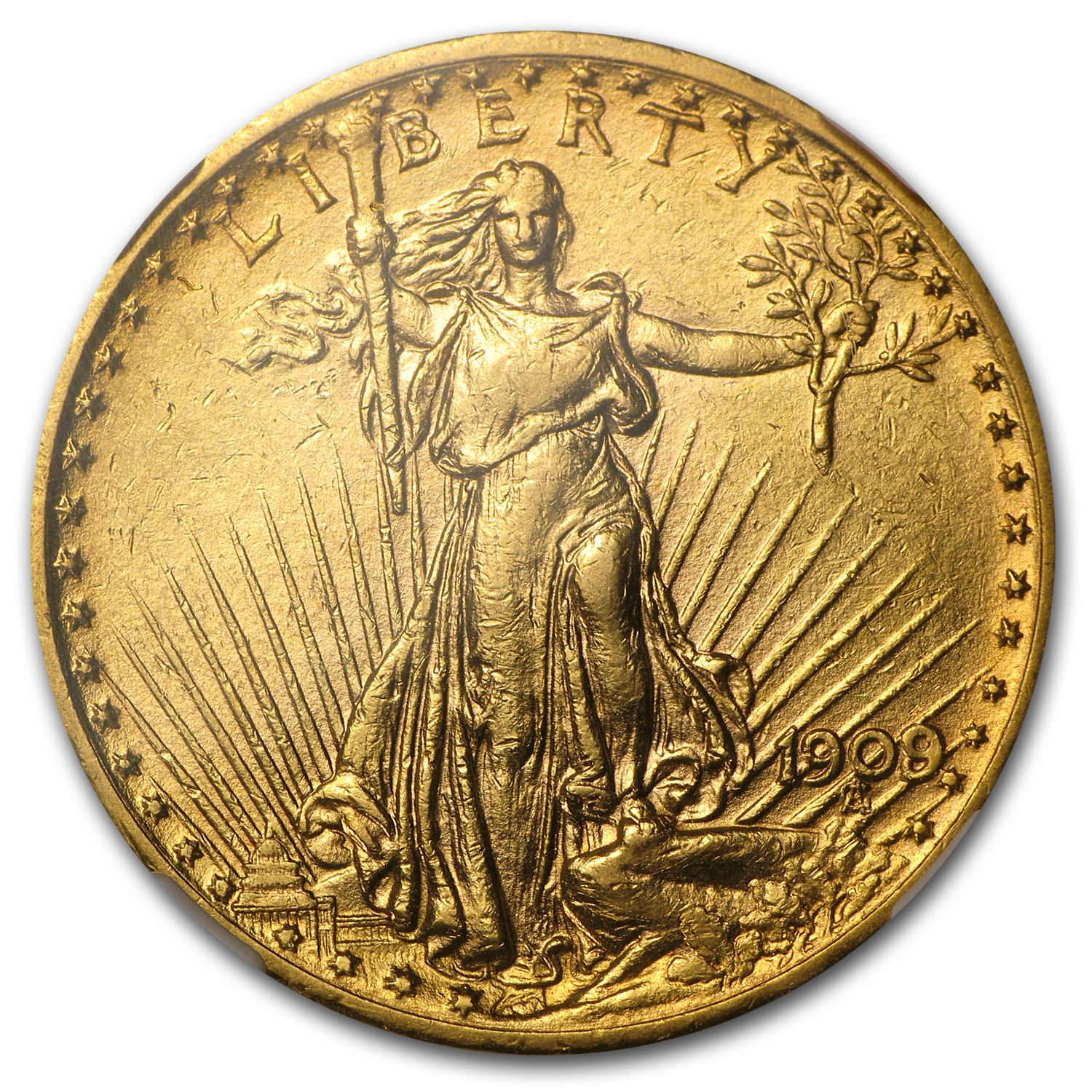 1909/8 $20 St. Gaudens Gold Double Eagle Overdate AU-53 NGC