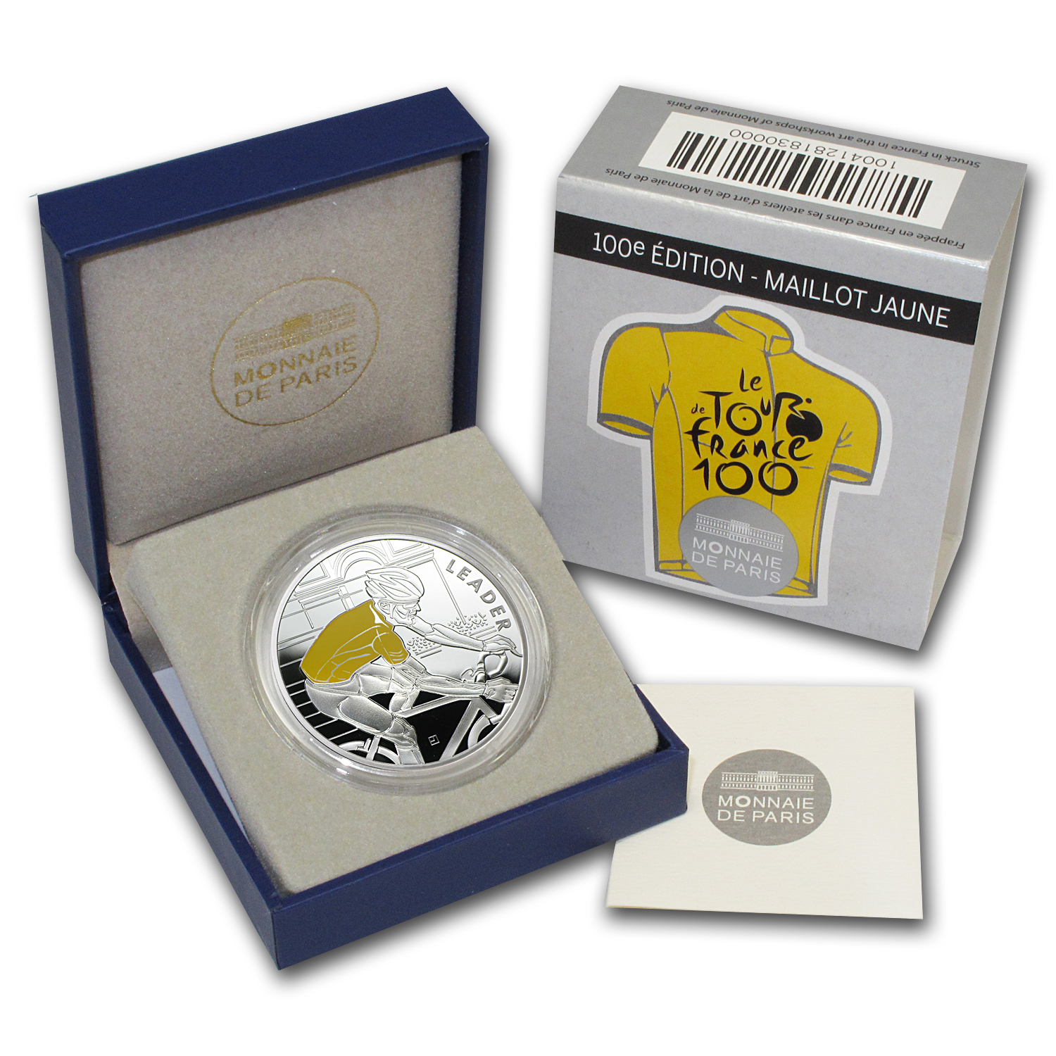 2013 €10 Silver Proof 100th Edition Tour de France -Yellow Jersey