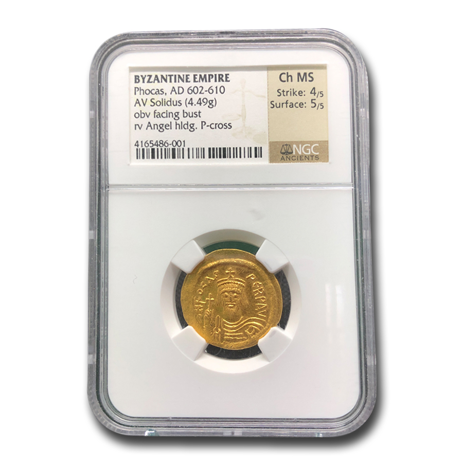 Byzantine Gold Emperor Phocas Ch MS NGC (602-610 AD)
