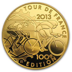 2013 5 oz Gold €500 Proof 100th Edition Tour de France (8-27)
