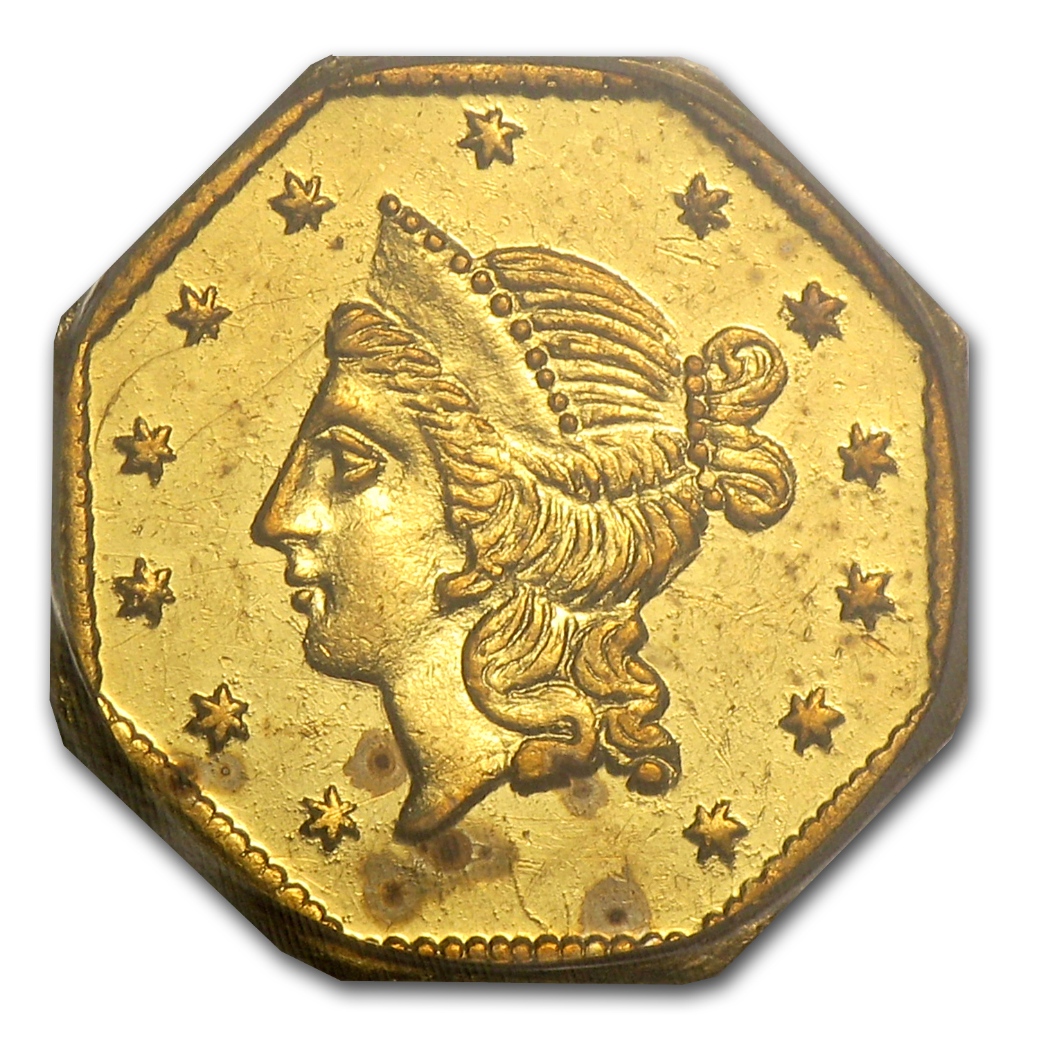 1855 BG-533 Liberty Octagonal One Dollar Gold MS-60 PCGS