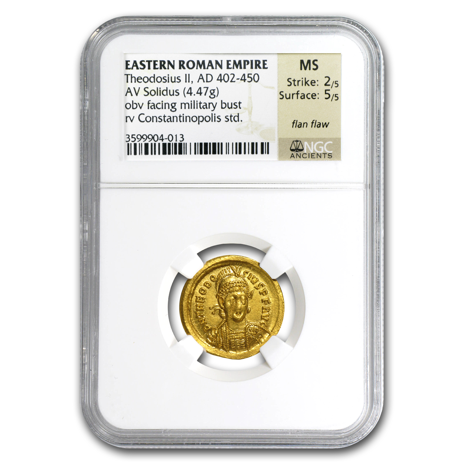 East Roman Empire Gold Solidus Theodosius II MS NGC (402-450 AD)