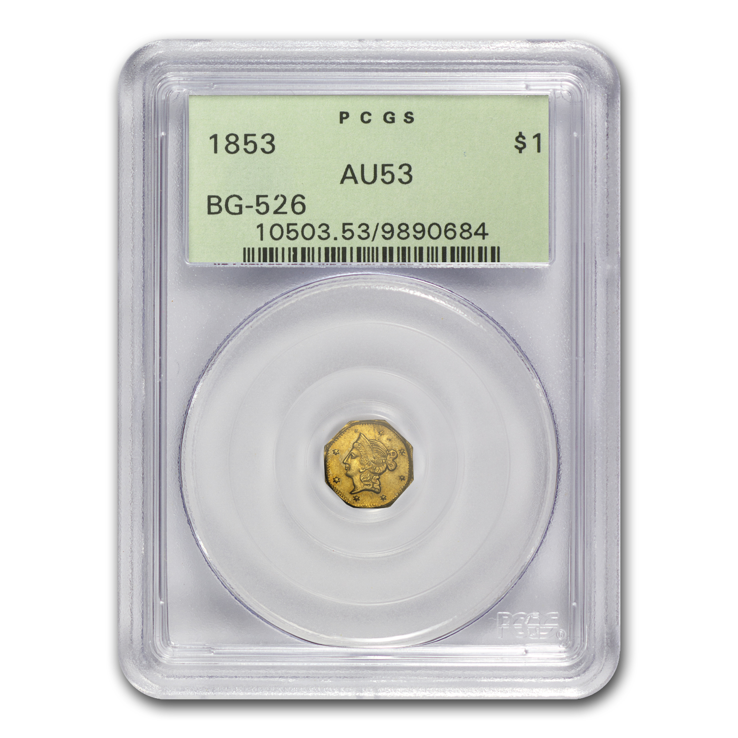 1853 BG-526 Liberty Octagonal One Dollar Gold AU-53 PCGS