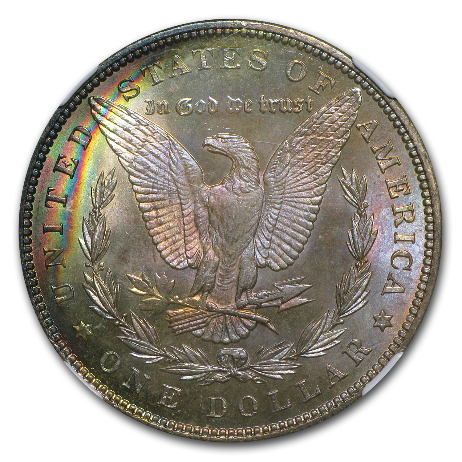 1887 Morgan Dollar MS-67 NGC Rainbow Toned - Binion Collection