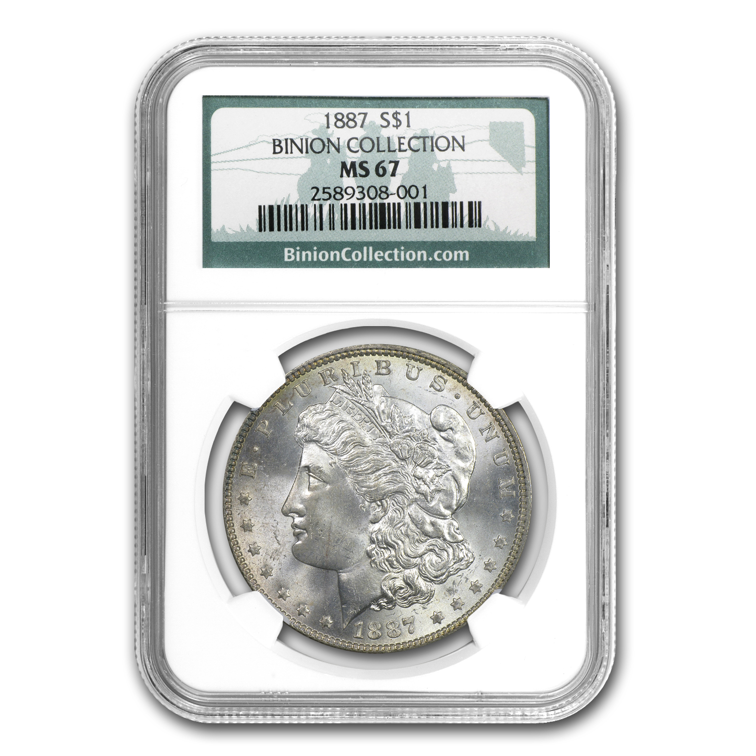 1887 Morgan Dollar MS-67 NGC (Rainbow Toned, Binion Collection)