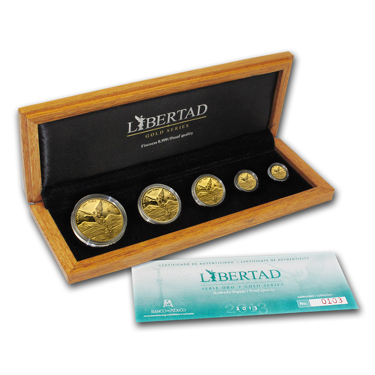 2013 Mexico 5-Coin Gold Libertad Proof Set (1.9 oz, Box & COA)