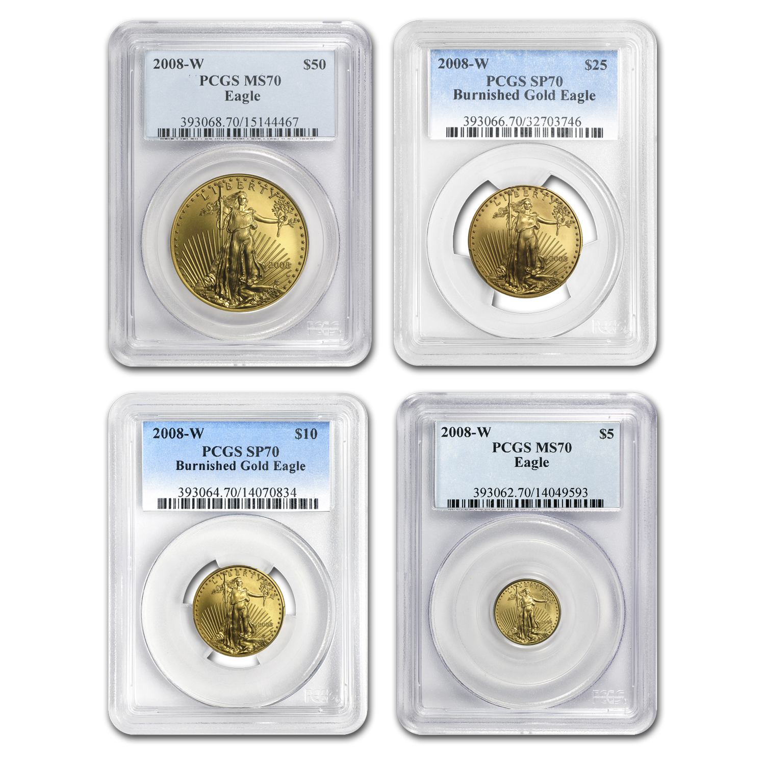 2008-W 4-Coin Burnished Gold American Eagle Set MS-70 PCGS