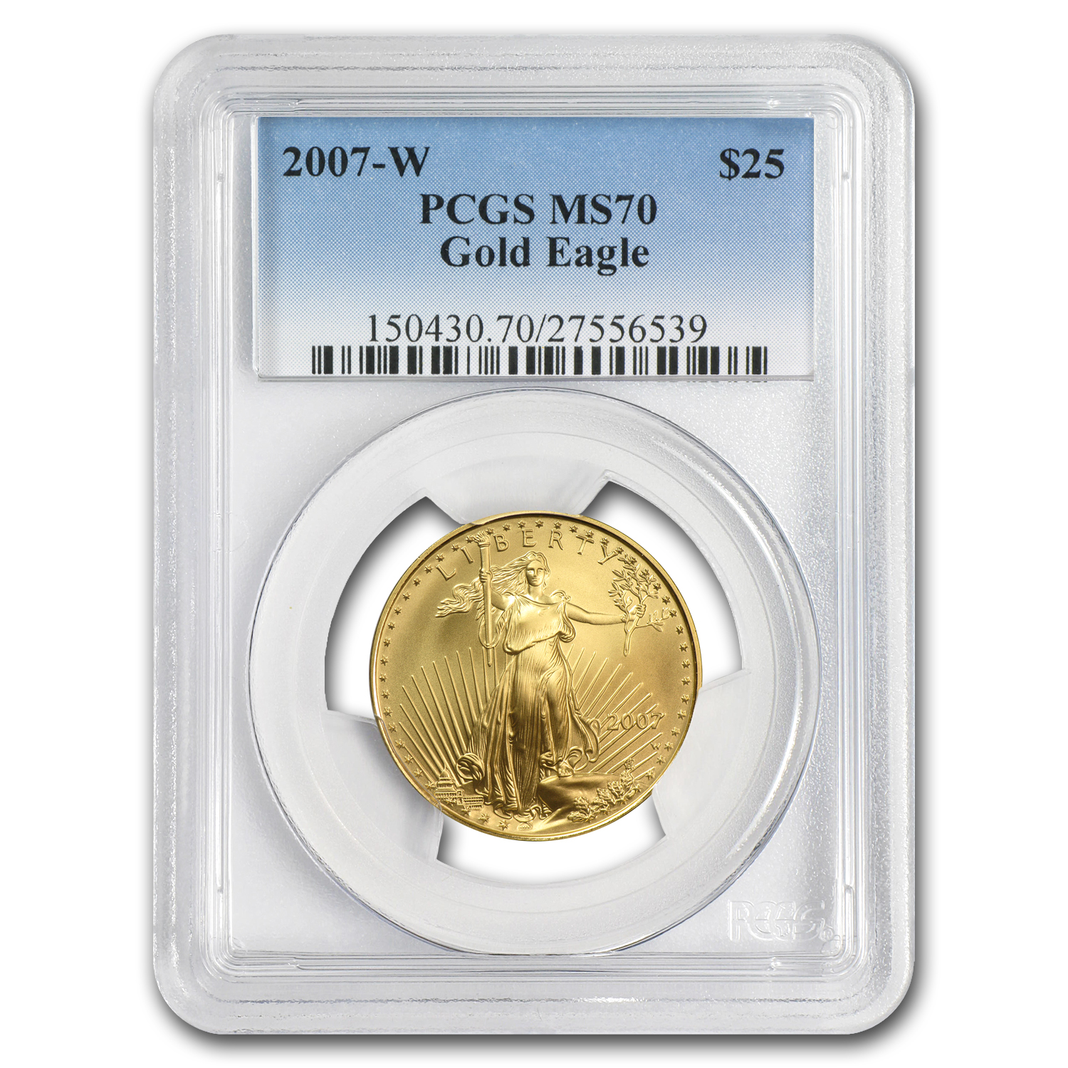 2007-W 1/2 oz Burnished Gold American Eagle MS-70 PCGS