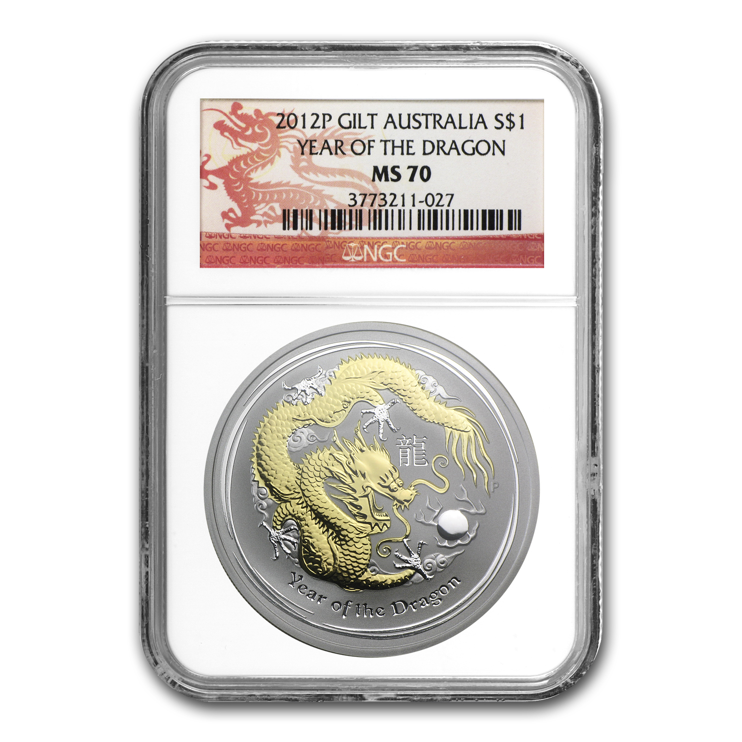 2012 Australia 1 oz Silver Dragon MS-70 NGC (Gilded)
