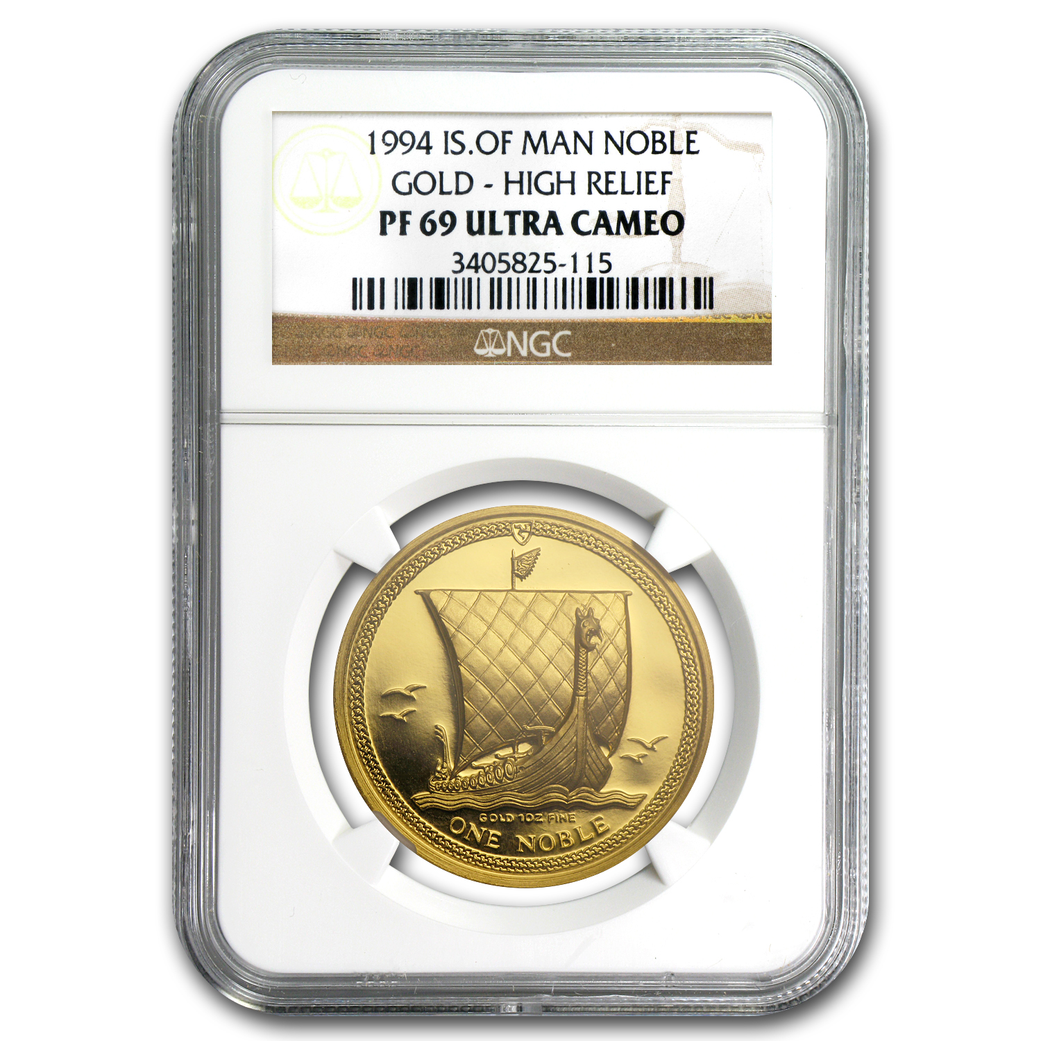 1994 Isle of Man 1 oz Proof Gold Noble High Relief PF-69 NGC