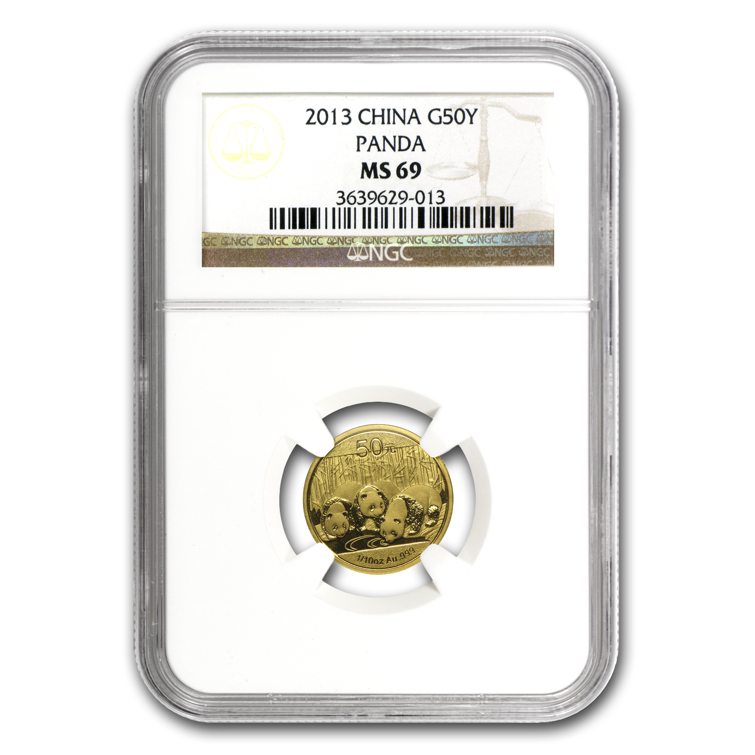 2013 China 1/10 oz Gold Panda MS-69 NGC