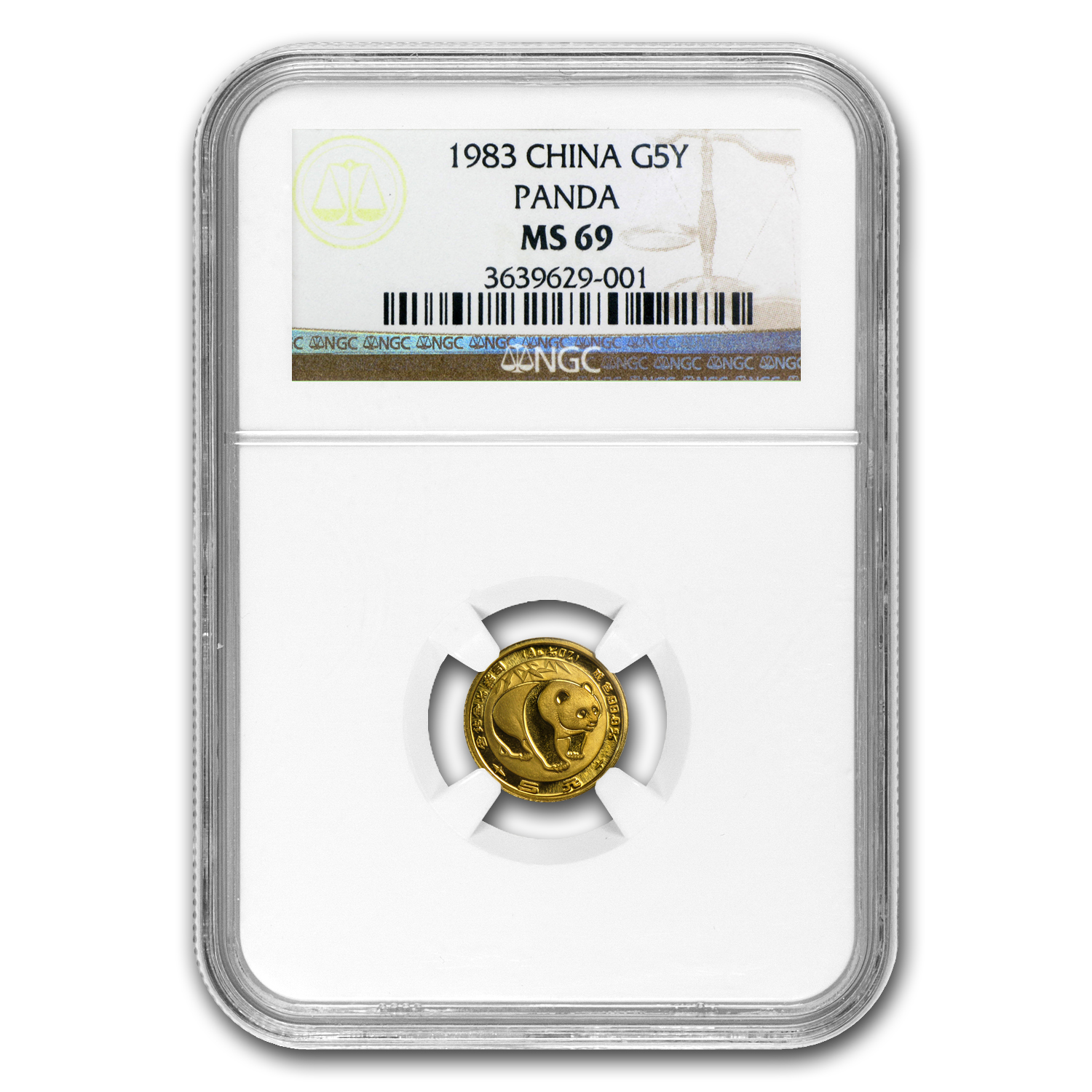 1983 China 1/20 oz Gold Panda MS-69 NGC