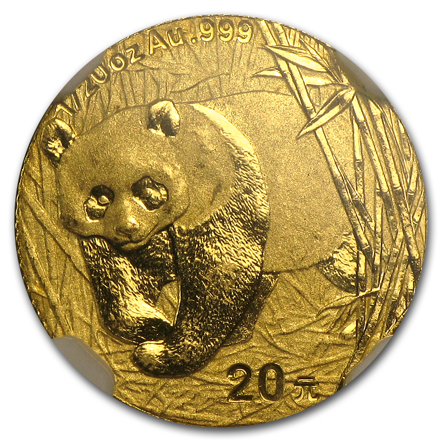 2001 (1/20 oz) Gold Chinese Pandas - MS-63 NGC