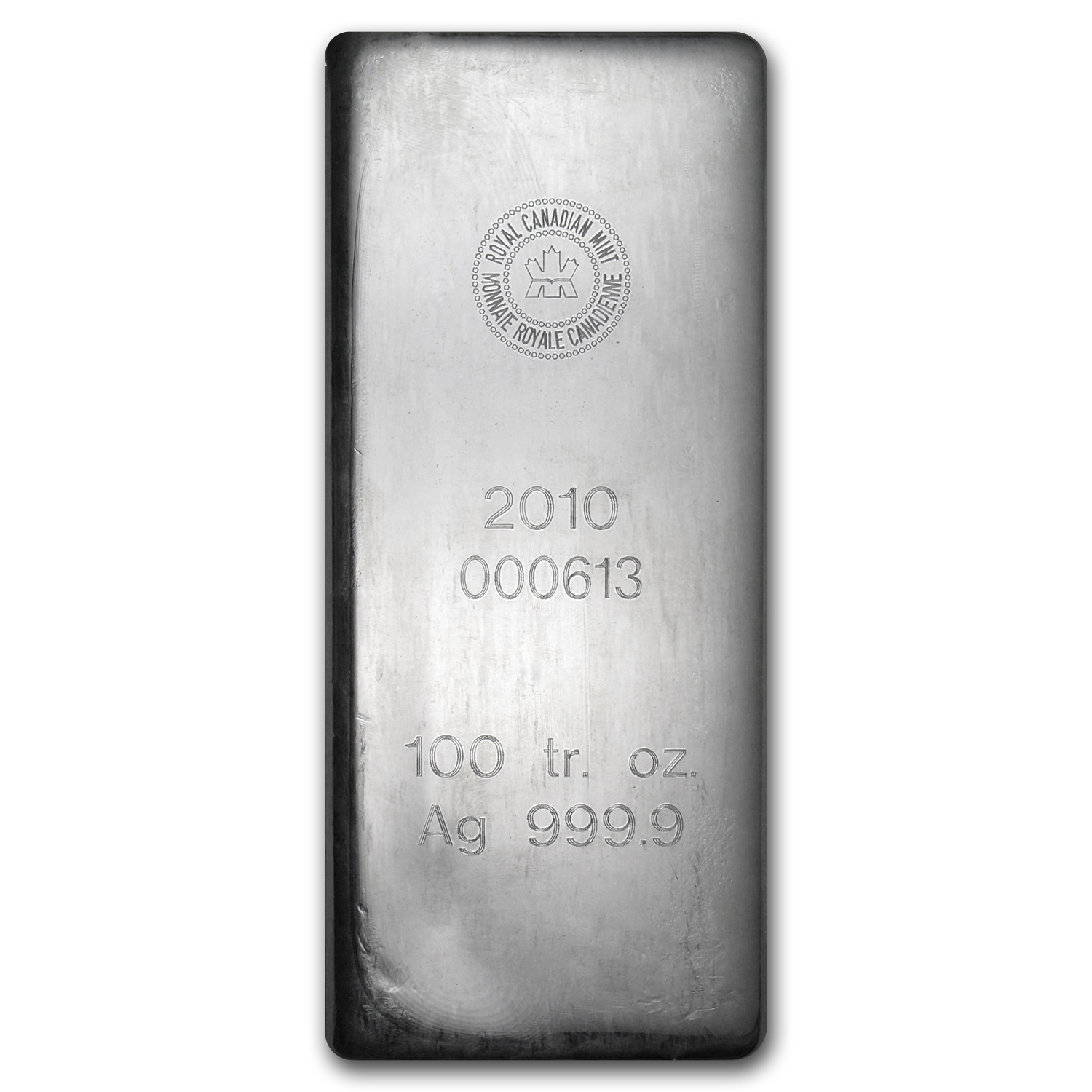 100 oz Silver Bar - RCM (2010/.9999 Fine)