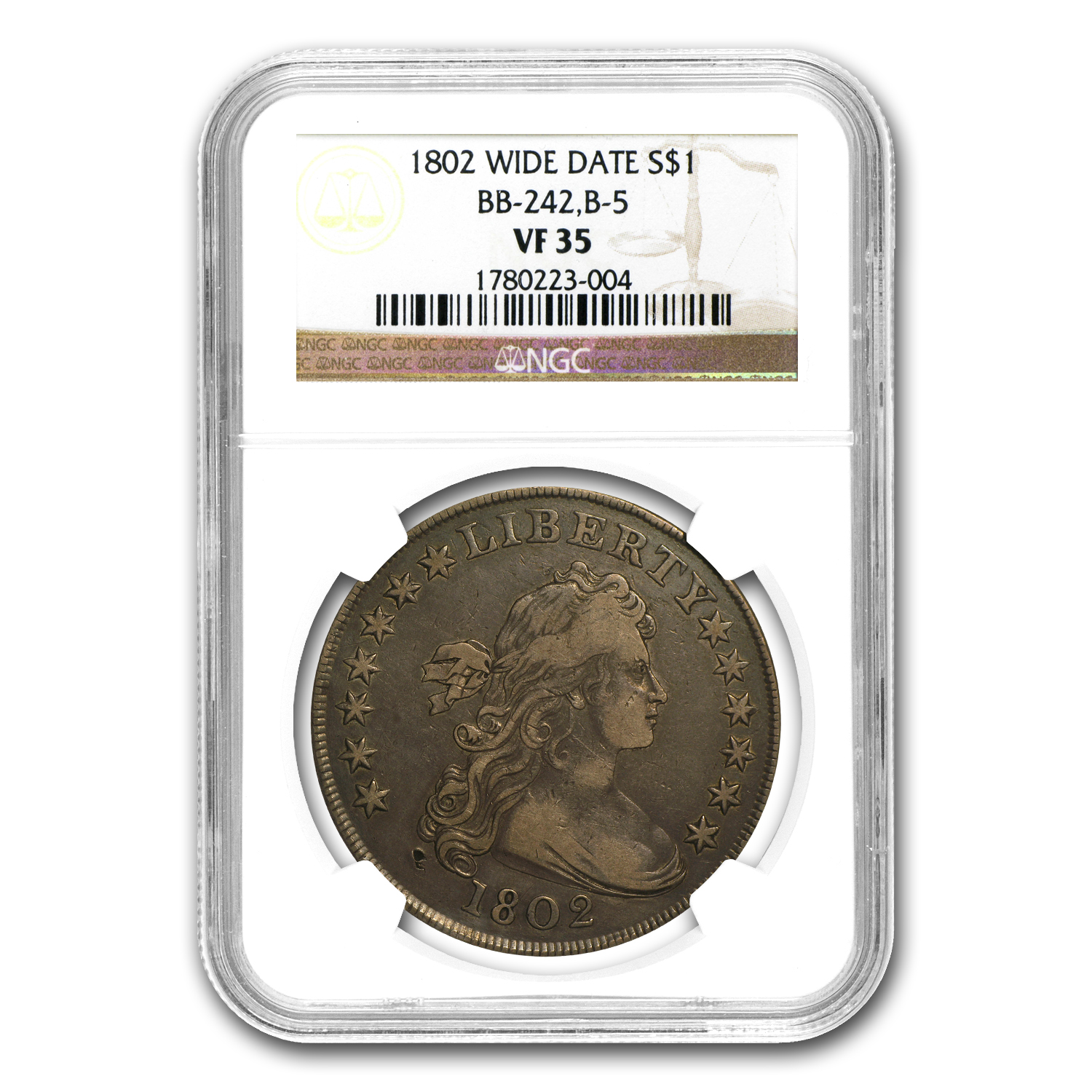 1802 Draped Bust Dollar VF-35 NGC (Wide Date)