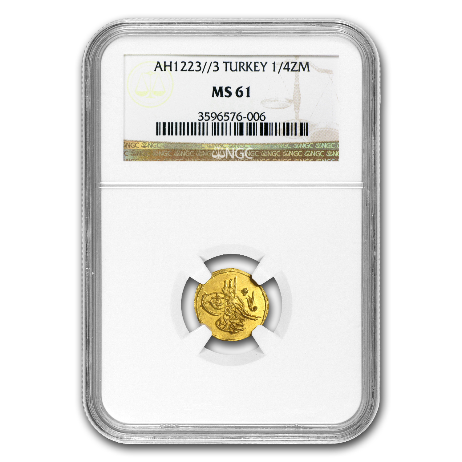 AH1223/1810 Turkey Gold 1/4 Zeri Mahbub MS-61 NGC