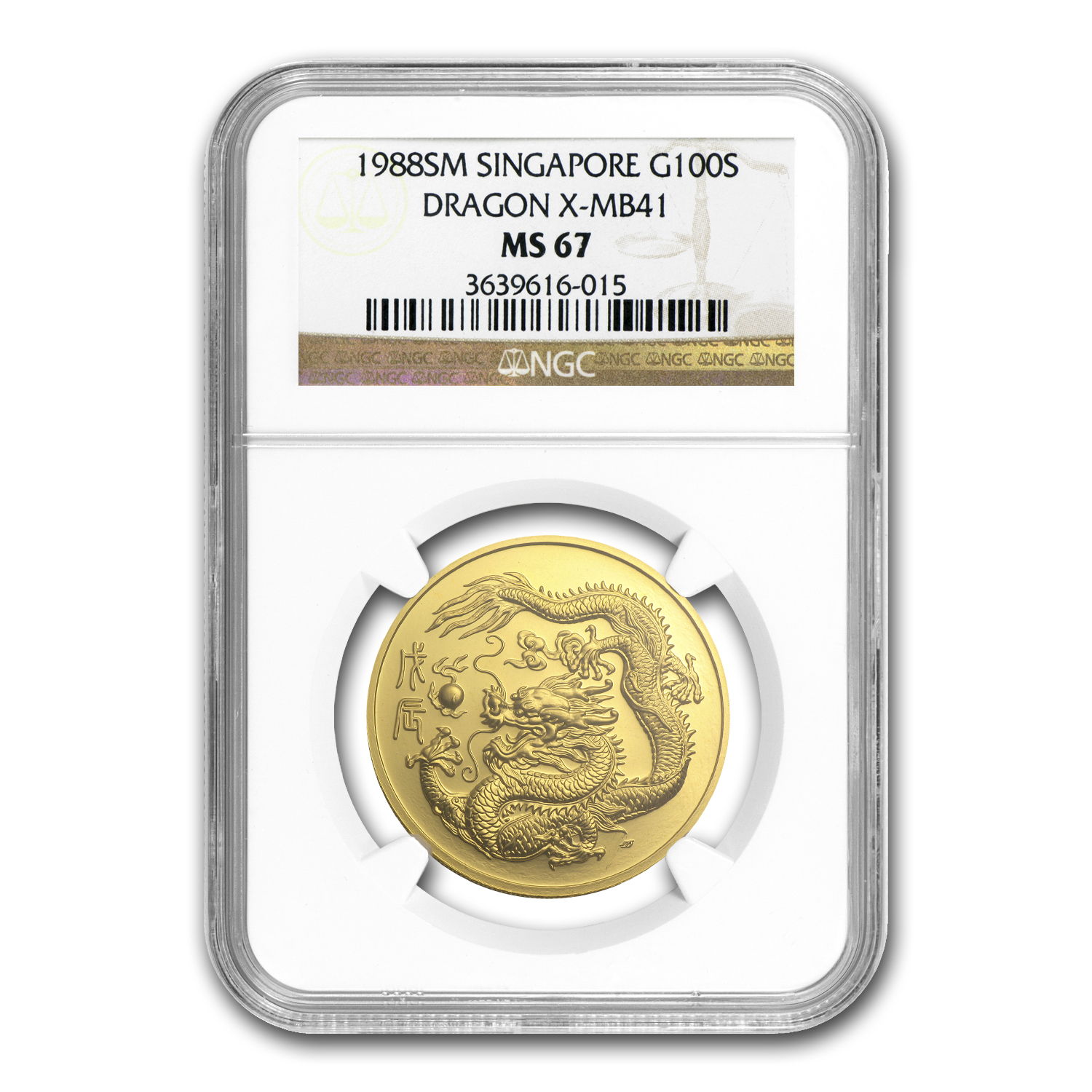 1988 Singapore 1 oz Gold 100 Singold Dragon MS-67 NGC