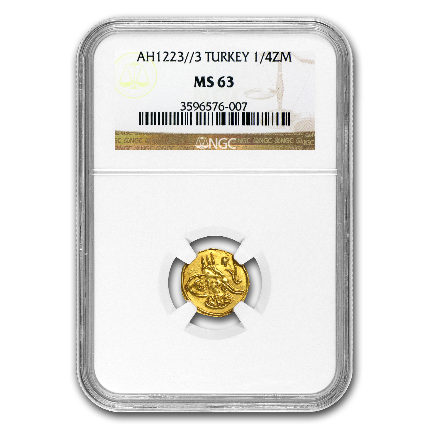 Turkey AH 1/4 Zeri Mahbub Gold Coin MS-63 NGC