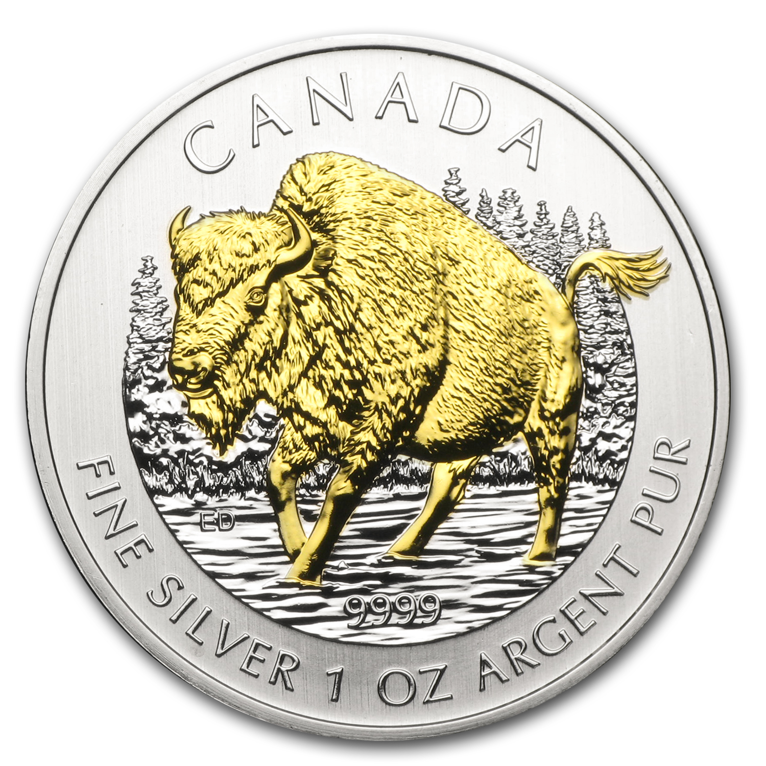 2013 1 oz Silver Canadian Wildlife Series - Wood Bison - Gilded