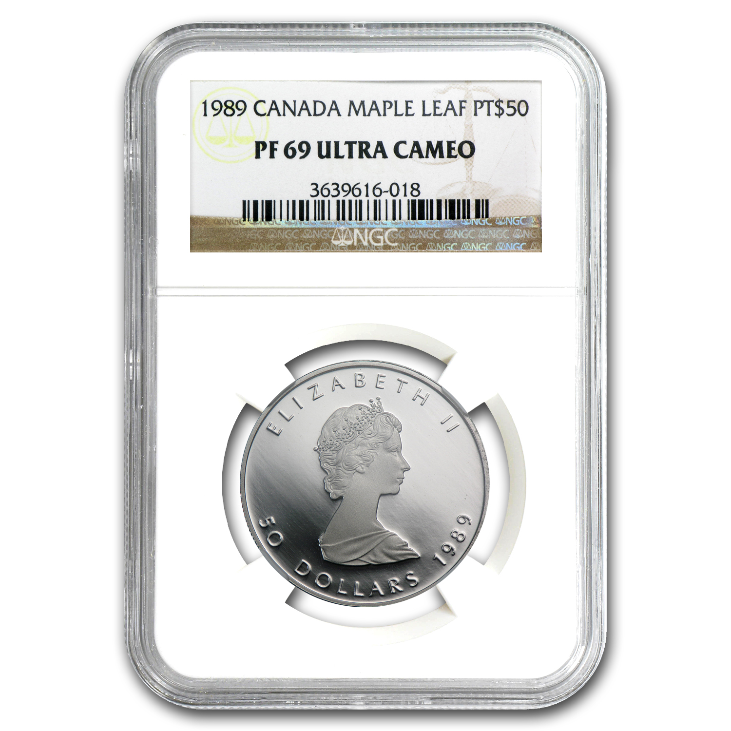 1989 1 oz Canadian Platinum Maple Leaf PF-69 NGC UCAM