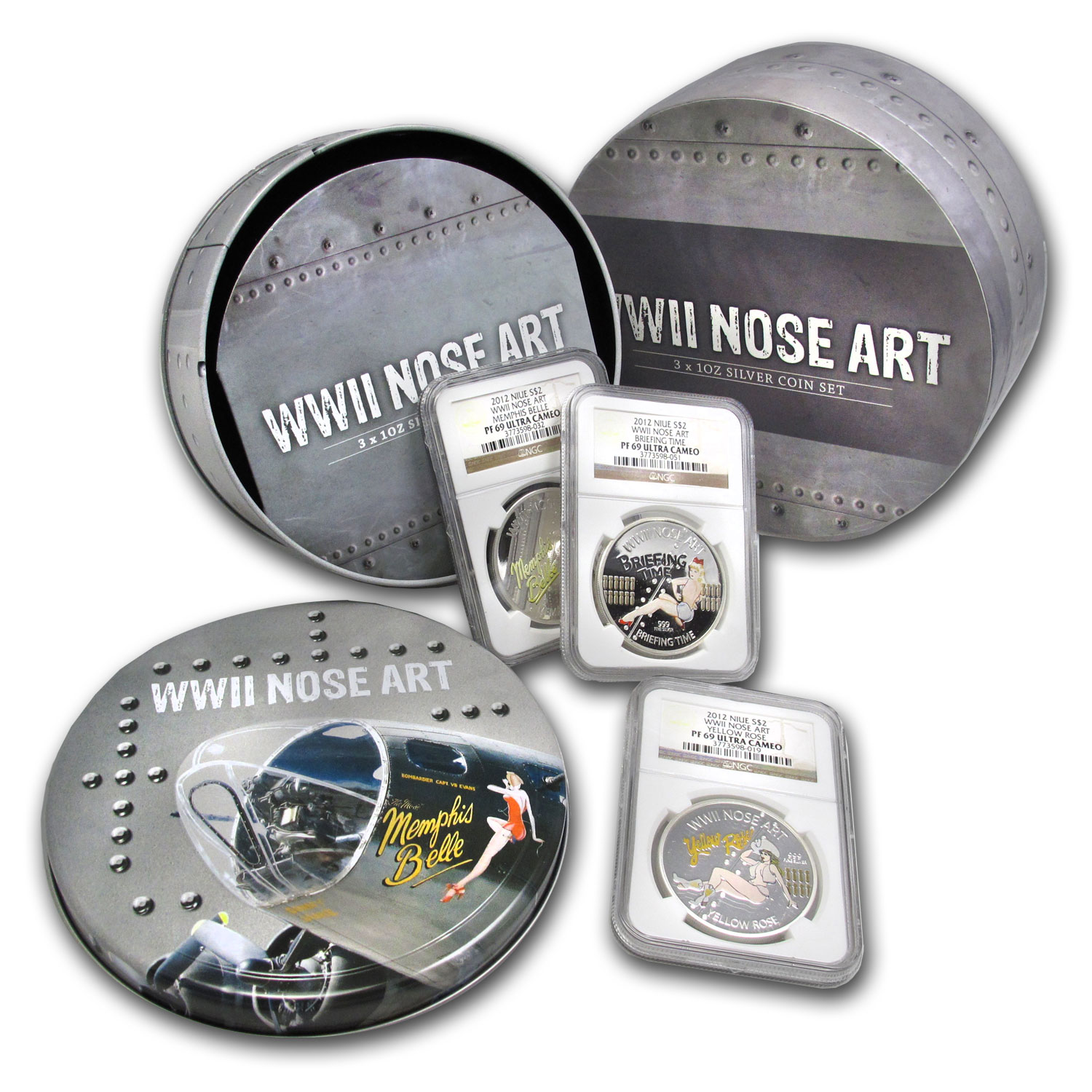 2012 WWII Nose Art - 3 x 1 oz Silver Set NGC PF-69 UCAM