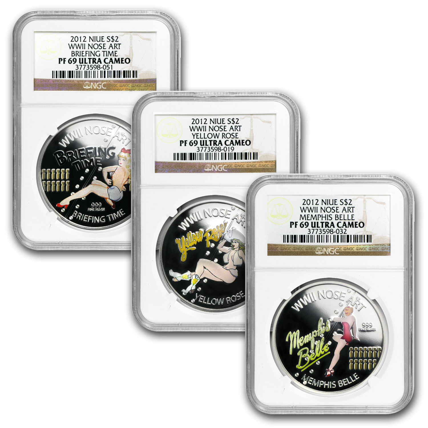 2012 3x 1 oz Silver $2 Niue WWII Nose Art Set PF-69 NGC