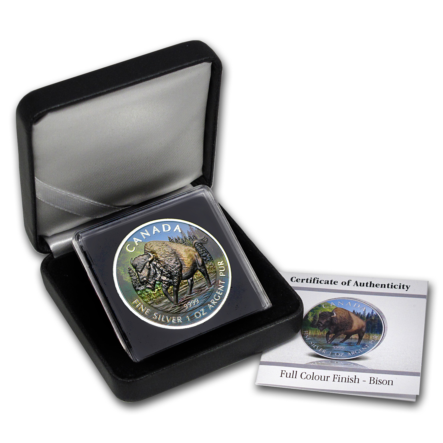 2013 1 oz Silver Canadian Wildlife Series - Wood Bison-Full Color