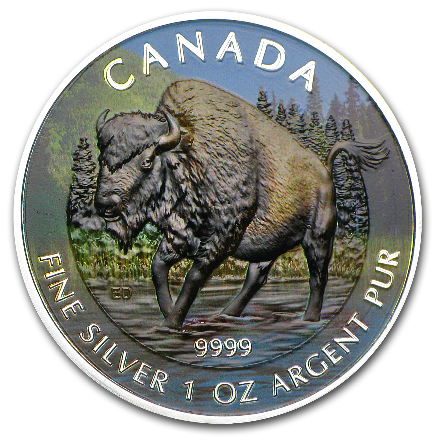 2013 1 oz Silver Canadian Wildlife Series Wood Bison (Full Color)