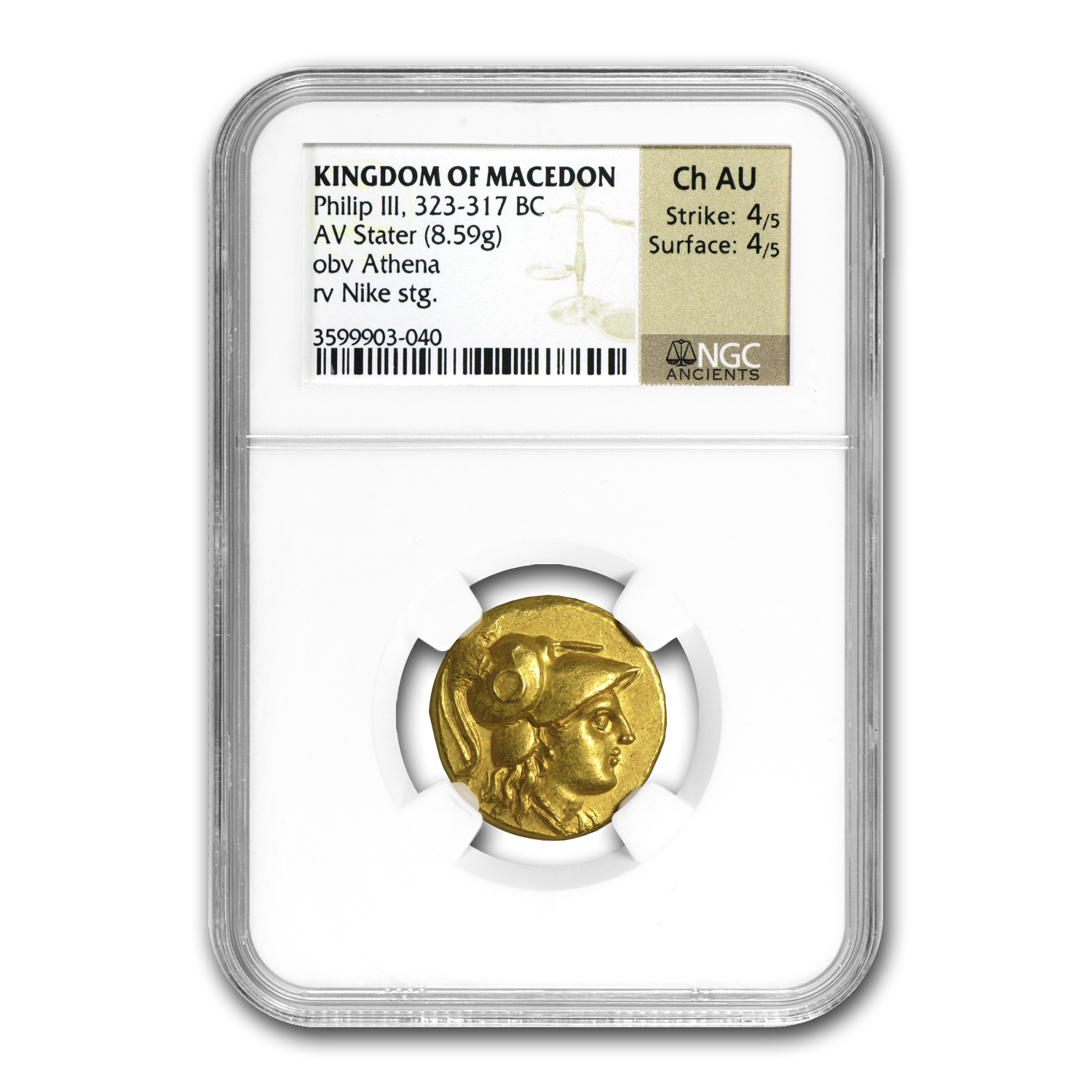 Macedonia Gold Stater of Philip III (323-317BC) ChAU NGC