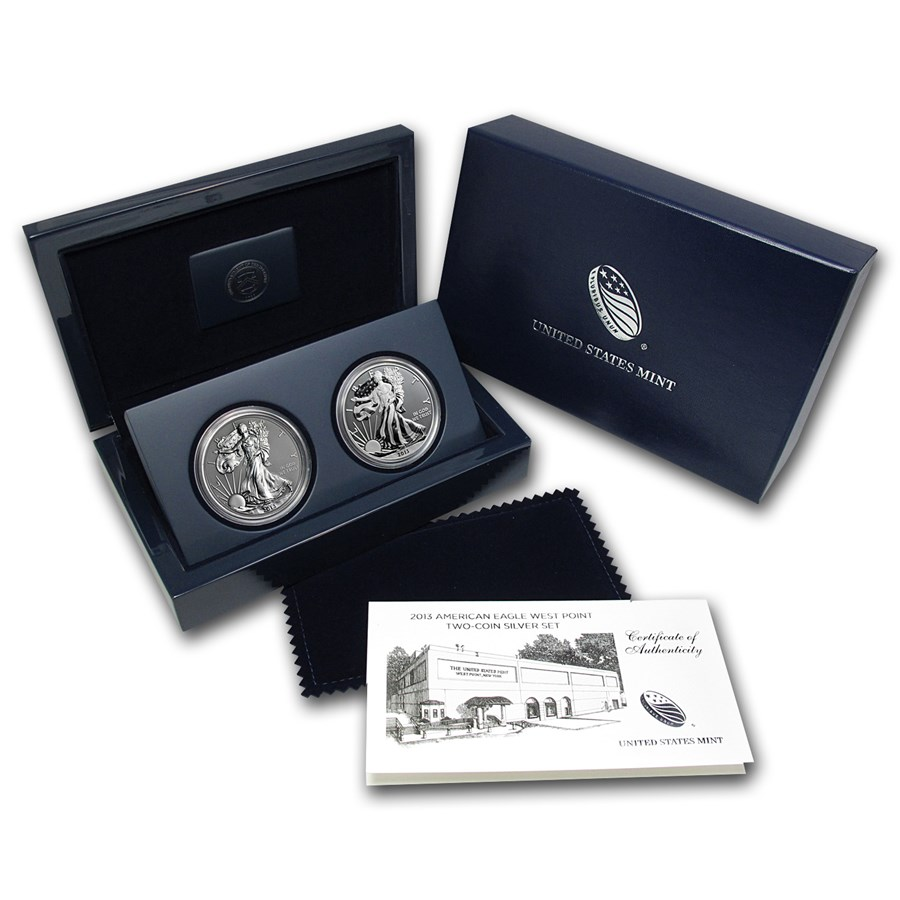 2013 2 Coin Silver American Eagle West Point Set W Box