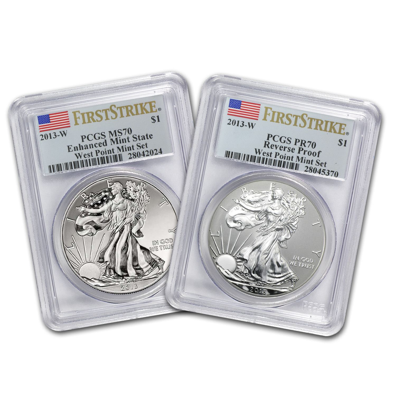 2013 2-Coin Silver Eagle Set MS/PF-70 PCGS (FS, West Point)
