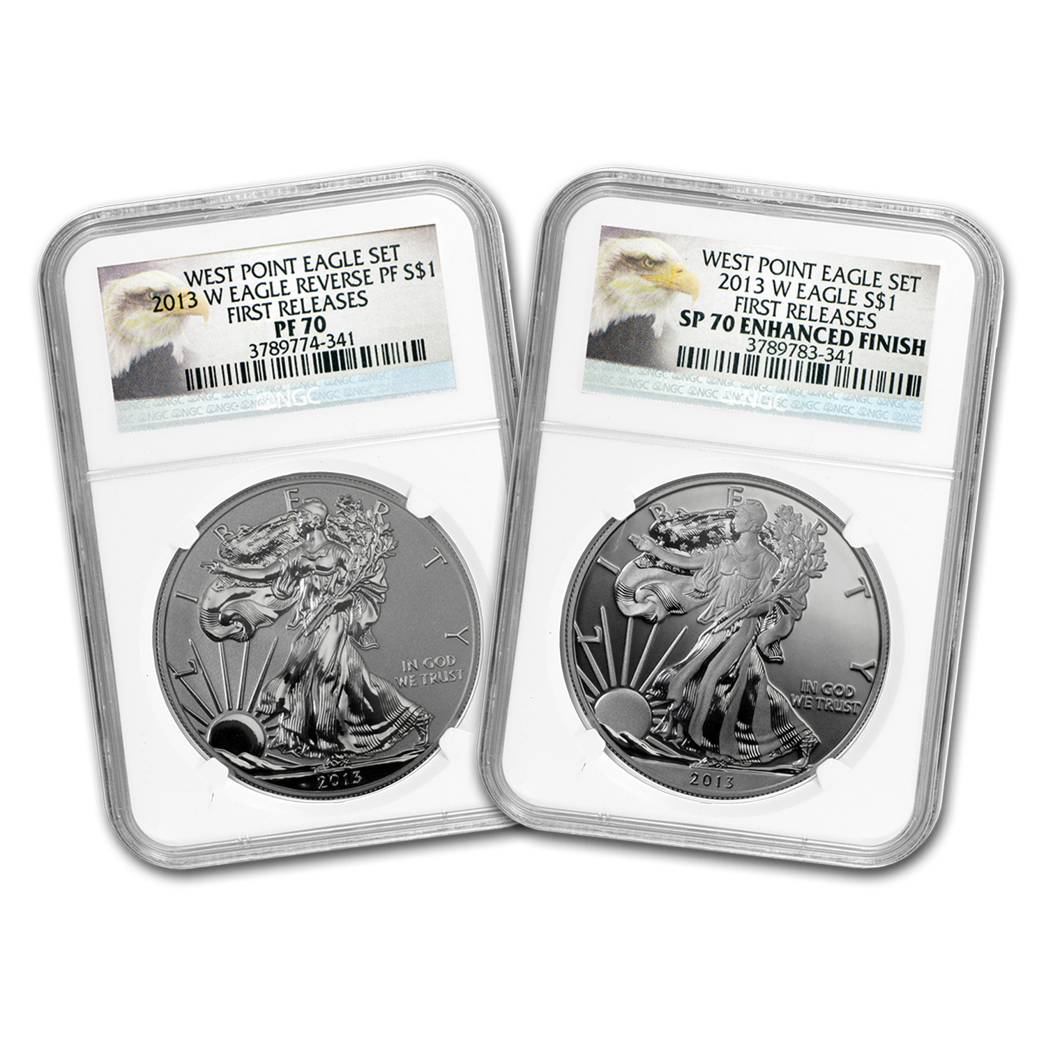 2013 2-Coin Silver Eagle Set SP/PF-70 NGC (ER/FR, West Point)