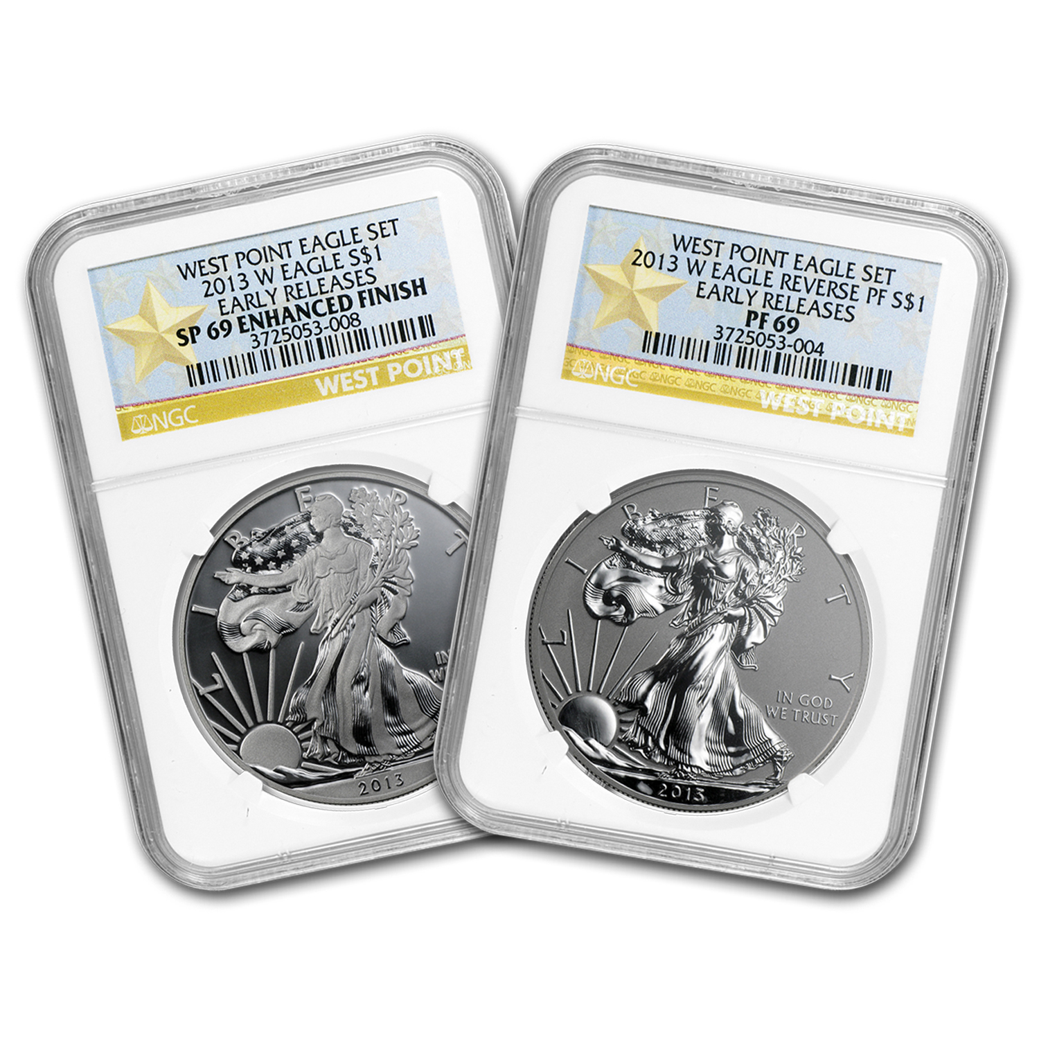 2013 2-Coin Silver Eagle Set SP/PF-69 NGC (ER, West Point)