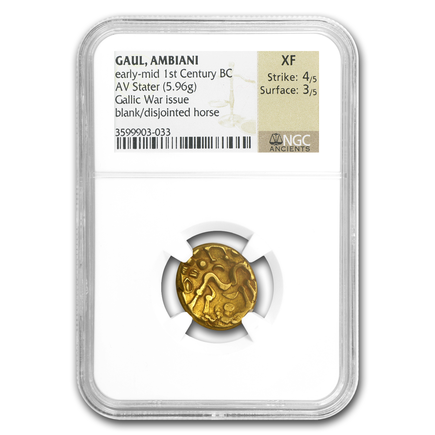 Gaul Ambiani AV Gold Stater 1st Cent BC XF-NGC