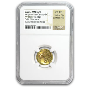 Gaul Ambiani AV Gold Stater Ch VF NGC (1st Century BC)