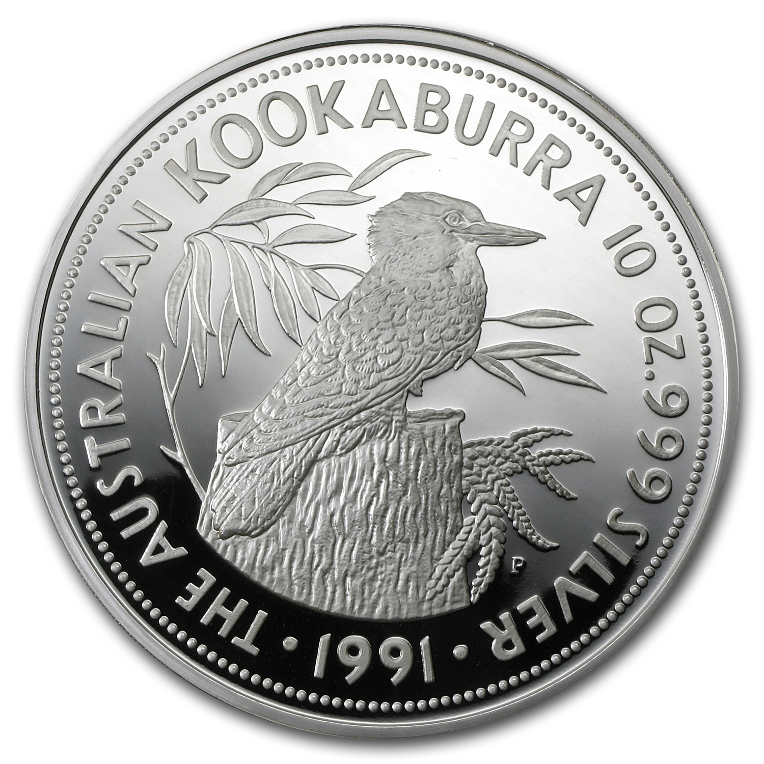 1991 10 oz Silver Australian Kookaburra Proof (w/Box, No COA)