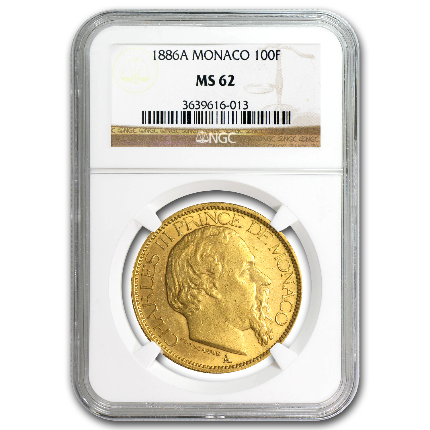 1886-A Monaco Gold 100 Francs Charles III MS-62 NGC