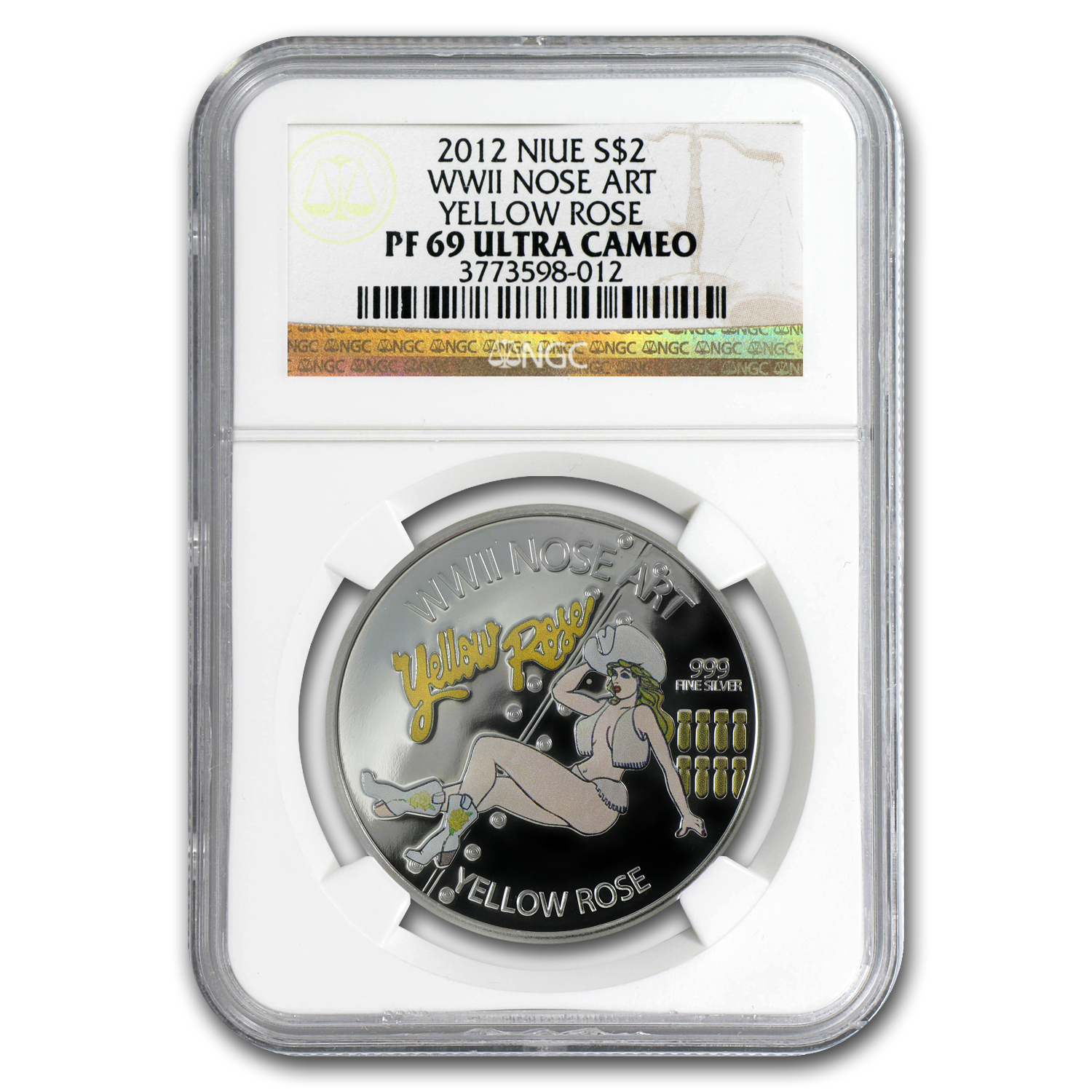 2012 Niue WWII Nose Art Yellow Rose PF-69 NGC