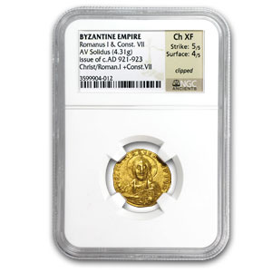 Byzantine Gold Solidus of Romanus I Ch XF NGC (921-923 AD)