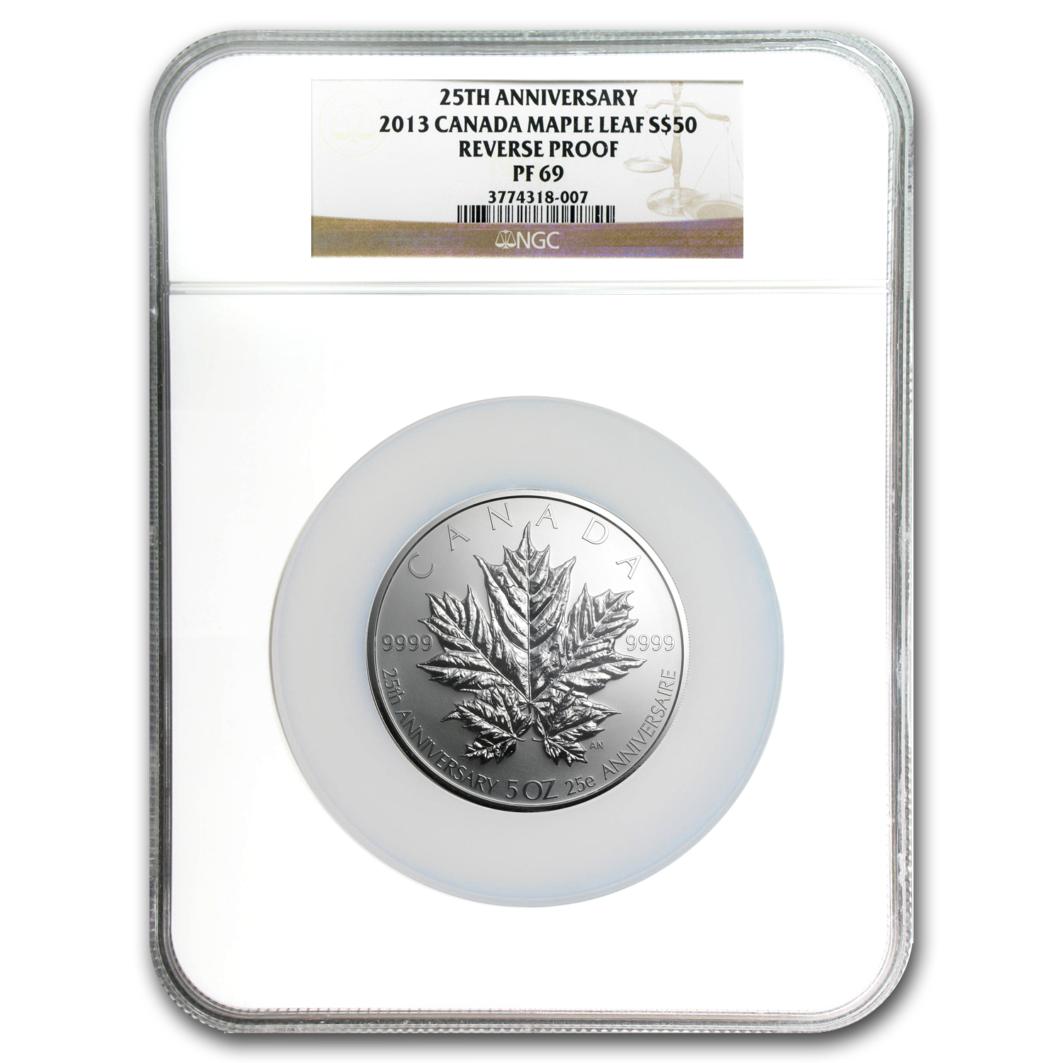2013 5 oz Silver Canadian $50 25th Anniversary Maple PF-69 NGC