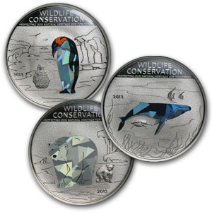 2013 Cook Islands 3-Coin Silver Wildlife Conservation Prism Set