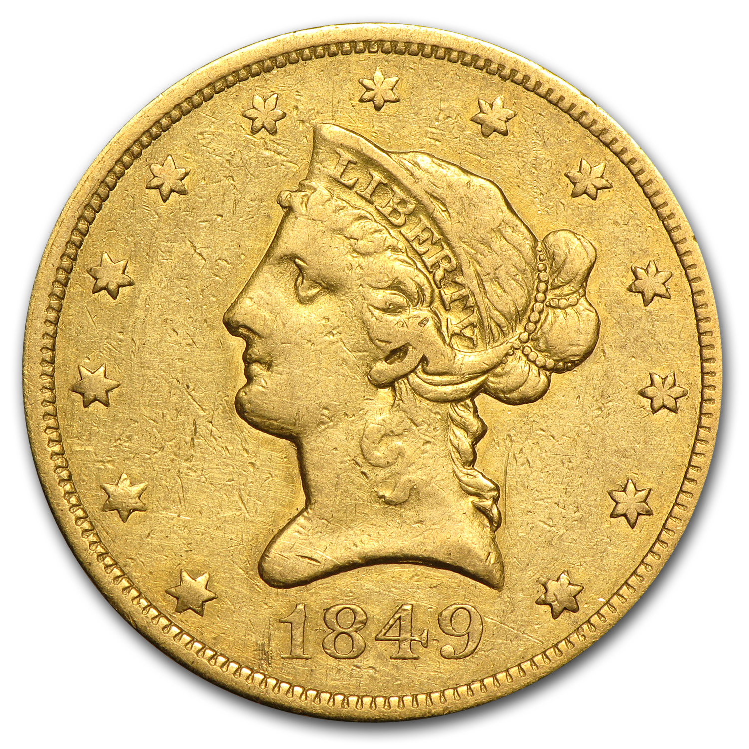 1849 $10 Liberty Gold Eagle - Fine Details - Cleaned