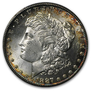 1887-S Morgan Dollar MS-63 PCGS - Attractive Rim Toning