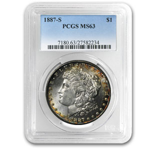 1887-S Morgan Dollar MS-63 PCGS (Rim Toning)