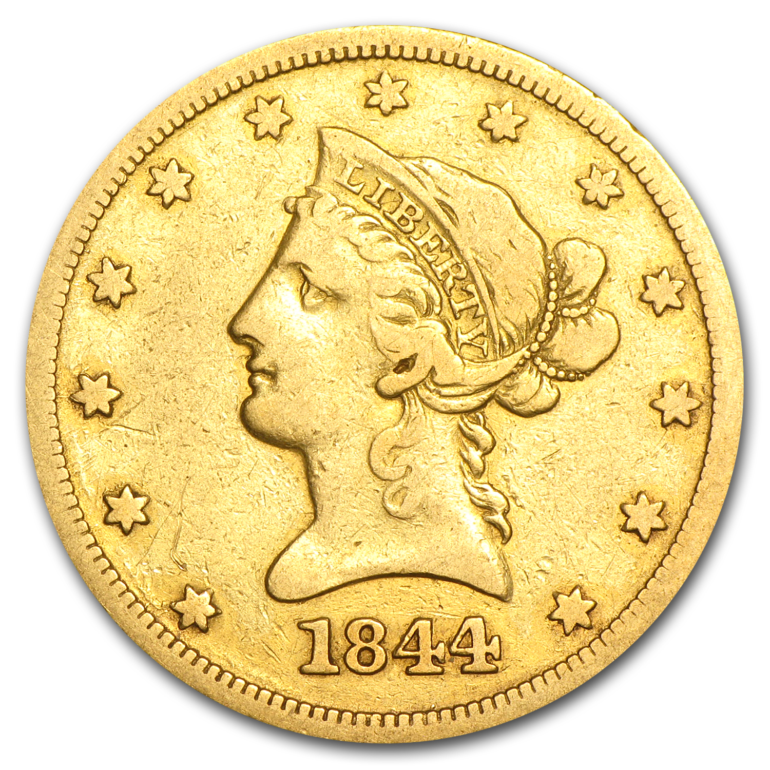 1844-O $10 Liberty Gold Eagle Fine Details (Cleaned)
